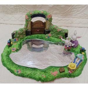 VTG- Cracker Barrel-Porcelain Easter Bunny Lake